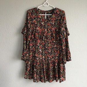 Zara Trafuluc Black Floral Ruffle Mini Dress